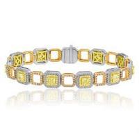 5.8 Ct Fancy Diamond Diamond Bracelet (ydrad 2.77ct, Ydrd 0.81ct, Pink 0.95ct, Rd 1.27ct)