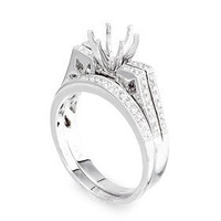 Pave Two Piece Diamond Engagement Ring Setting P16-2