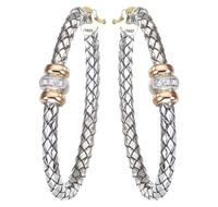 18Kt/Sterling Silver Traversa Large Oval Hoop Earrings