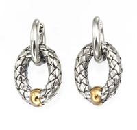 18Kt/Sterling Silver Traversa Oval Link Earring