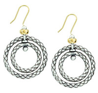 18Kt/Sterling Silver Traversa Double Circle Earring