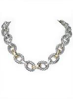 18Kt/Sterling Silver Traversa Oval Necklace