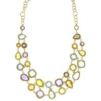 Herco 18k Yellow Gold Multi-color Gemstone Necklace 18""