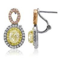 3.08 Ct Tri-color Fancy Diamond Dangling Earrings (rd 0.35ct, Pink 0.17ct, Fyrd 0.25ct, Fyov 2.31ct)