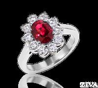 Ziva Ruby Ring with Diamonds Around
