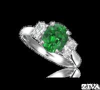 Ziva Emerald 3-Stone Ring