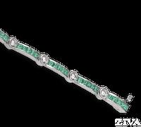 Ziva Square Emerald & Diamond Bracelet