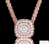 Ziva RG Diamond Pendant with Double Halo