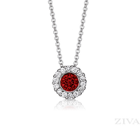 Ziva Ruby Pendant with Halo