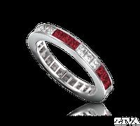 Ziva Square Ruby & Diamond Eternity Ring