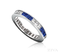 Ziva Square Sapphire & Diamond Eternity Ring