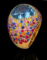 Mousson Atelier Riviera Gold Aquamarine Ring R0040-3/14