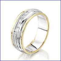 Gregorio 14K 2 Tone Men's Ring with Diamonds SA-142