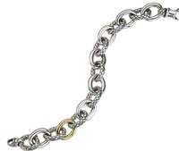 18Kt/Sterling Silver Shiny Traversa Oval Link Bracelet