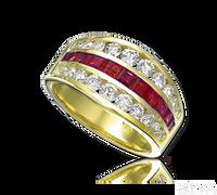 Ziva 3-Row Ruby & Diamond Anniversary Band
