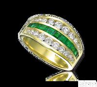 Ziva 3-Row Emerald & Diamond Anniversary Band