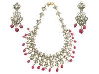 22.29 ct Rose Cut Diamond & Ruby Bead Earring/Necklace Set