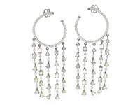 18K WG & 8.18 ct Diamond Hoop Tassel Earring