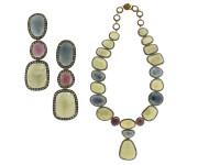 Multi Color Sapphire & 11.58 ct Diamond Earring/Necklace Set