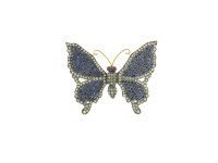 Ruby, Blue Sapphire & 2.20 ct Diamond Butterfly-Shaped Brooch/Pendant