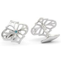 Jack Row Jaali Silver & Petrol Blue Diamond Cufflinks