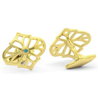 Jack Row Jaali Gold Vermeil & Petrol Blue Diamond Cufflinks