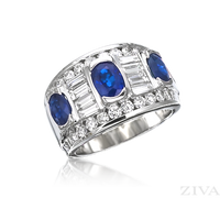 Ziva Large Sapphire & Diamond Band with Baguette & Round