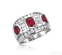 Ziva Large Ruby & Diamond Band with Baguette & Round