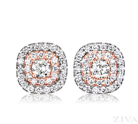 Ziva Double Halo Diamond Earrings in White & Rose Gold
