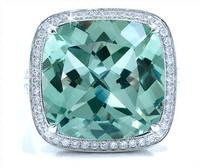 13.22 cttw Green Amethyst & Diamond Ring