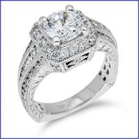 Gregorio 18K White Engagement Diamond Ring R-350