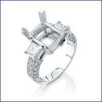 Gregorio 18K White Diamond Engagement Ring R-4359