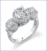 Gregorio 18K White Diamond Engagement Ring R-346