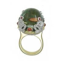 Green Amethyst & .65 ct Diamond Ring