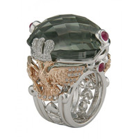 Green Amethyst & .50 ct Diamond Ring