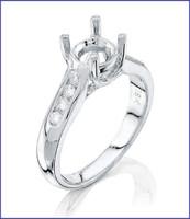Gregorio 18K White Diamond Engagement Ring R-5025