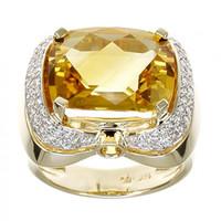 Citrine & .55 ct Diamond Ring