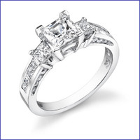 Gregorio 18K WG Diamond 3 Stone Ring R-497