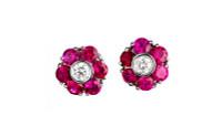 Gayubo 18K WG Diamond & Ruby Earrings 8822/R