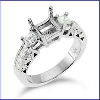 Gregorio 18K White Engagement Diamond Ring R-146