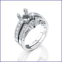 Gregorio 18K White Diamond Engagement Ring & Band MTR-221