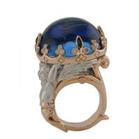 Blue Topaz & .56 ct Diamond Ring