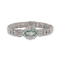 11 Carat Diamond & Emerald Art Deco Bracelet