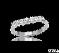 Ziva Curved Wedding Band with Diamonds