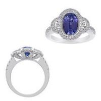 18k WG Tanzanite & Diamond Ring (rd 0.55ct, Hm 0.24ct, Tz 2.58ct)