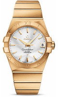 Omega Constellation 18K Brushed Yellow Gold Silver Dial Watch 123.50.38.21.02.002