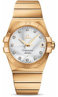 Omega Constellation 18K Brushed Yellow Gold Silver Dial Diamond Watch 23.50.38.21.52.002
