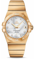 Omega Constellation 18K Brushed Yellow Gold Silver Dial Diamond Watch 123.55.38.21.52.008