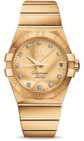 Omega Constellation 18K Brushed Yellow Gold Champagne Dial Diamond Watch 123.50.38.21.58.001