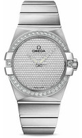 Omega Constellation 18K Brushed WG Pave Diamond Dial Watch 123.55.38.20.99.001